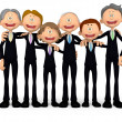 3D Group of business men - Stock Photo