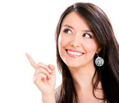 Woman pointing a great idea — Stock Photo