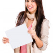 Happy woman holding banner — Stock Photo