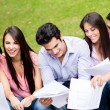 Group of students outdoors. — Stock Photo