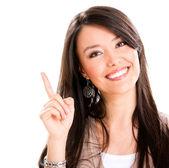 Woman wijzend op — Stockfoto