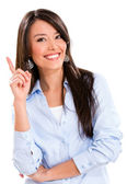 Business woman pointing an idea — Stock Photo