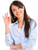 Business woman with an ok sign — Stock Photo