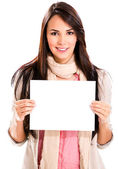 Woman holding a banner — Stock Photo