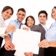 Business team holding document. - Stock Photo
