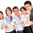 Successful business group with money. — Photo