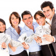 Stock Photo: Successful business group with money.