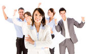 Business woman leading a team. — Stock Photo