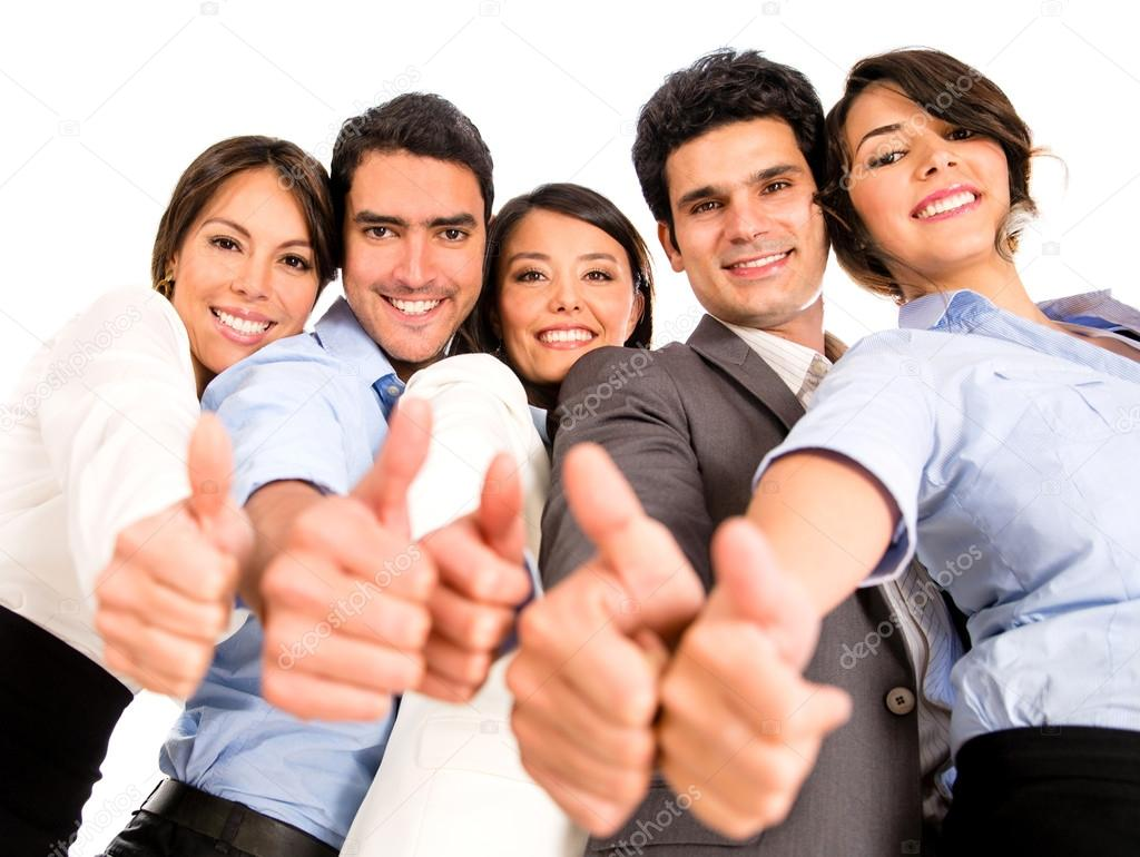 Business team with thumbs up. — Stock Photo © andresr ...