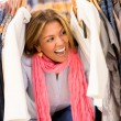 Excited shopping woman - Stock Photo