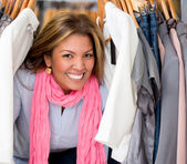 Happy female shopping — Stock Photo