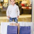 Adorable little boy shopping — Stok fotoğraf