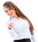 Business woman pointing to the camera — Stock Photo