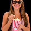 Woman at the movies - Stock Photo