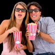 Couple watching a 3D movie — Foto de Stock