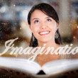 Woman letting her imagination fly - Stock Photo