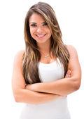 Vacker kvinna med armarna korsade — Stockfoto