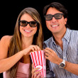 Couple watching movie in 3D — Stock Photo