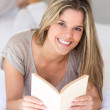Woman at home reading a book — Foto de Stock   #23713577