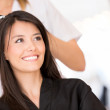 Woman at the hairdresser — Stock Photo