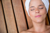 Relaxed woman at the spa — Foto de Stock