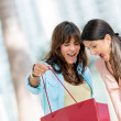 Excited shopping women — Stock Photo