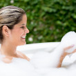 Stock Photo: Womtaking bath