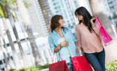 Happy female shoppers — Stock Photo