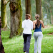 Women jogging outdoors — Foto Stock