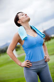Woman working out outdoors — Stock Photo