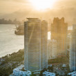 Miami at sunset - Stock Photo