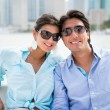 Romantic couple in a yacht — Stockfoto