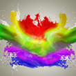 Splash of color paint - Stock Photo