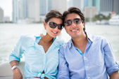 Romantic couple in a yacht — Stock Photo