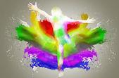 Silueta muže s splash barev — Stock fotografie