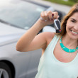 Royalty-Free Stock Photo: Woman holding car keys