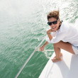 Woman in a yacht — Stock Photo