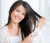 Woman in need of a haircut — Stock Photo
