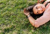 Pensive woman outdoors — Stock Photo