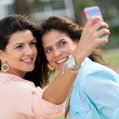 Friends taking a self portrait — Stock Photo