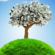 3D Money growing on trees - Stock Photo
