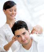 Man getting a haircut — Stock Photo