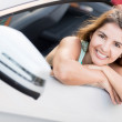 Womin convertible car — Stock Photo #24503273