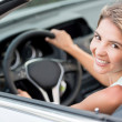 Stock Photo: Female driver in car