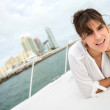 Woman on a yacht — Stock Photo