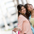 Happy women shopping — Stock Photo