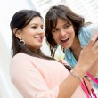 Girls social networking — Stock Photo