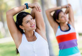 Athletic women stretching — Stock Photo