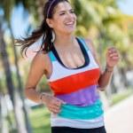 Woman running outdoors — Stock Photo #24705243