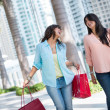 Stock Photo: Female shoppers having fun